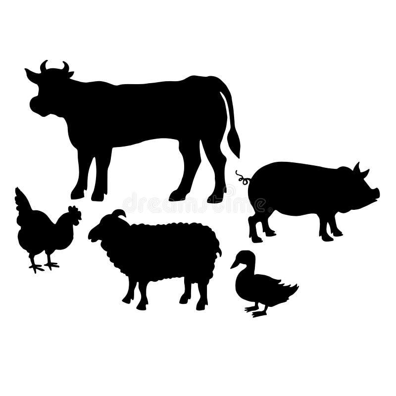 Animais de exploração agrícola Coleção denominada retro f das silhuetas dos animais de exploração agrícola ilustração royalty free
