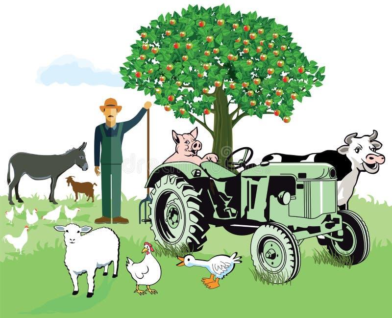 Animais de exploração agrícola com fazendeiro ilustração stock