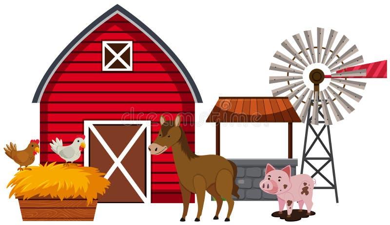 Animais de exploração agrícola e celeiro vermelho ilustração stock