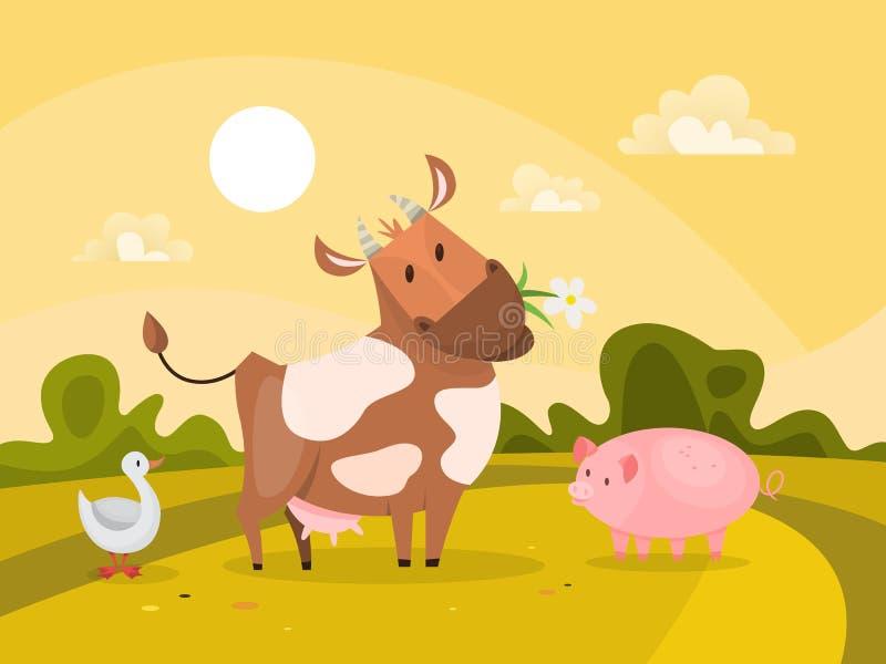 Animais de exploração agrícola fora Acobarde a mastigação da grama e do porco ilustração royalty free