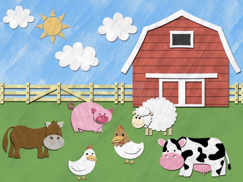 Animais de exploração agrícola no campo ilustração stock