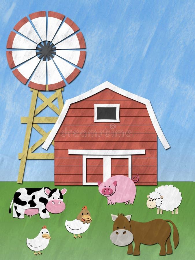 Animais de exploração agrícola no campo ilustração royalty free