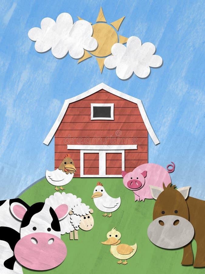 Animais de exploração agrícola no monte ilustração stock