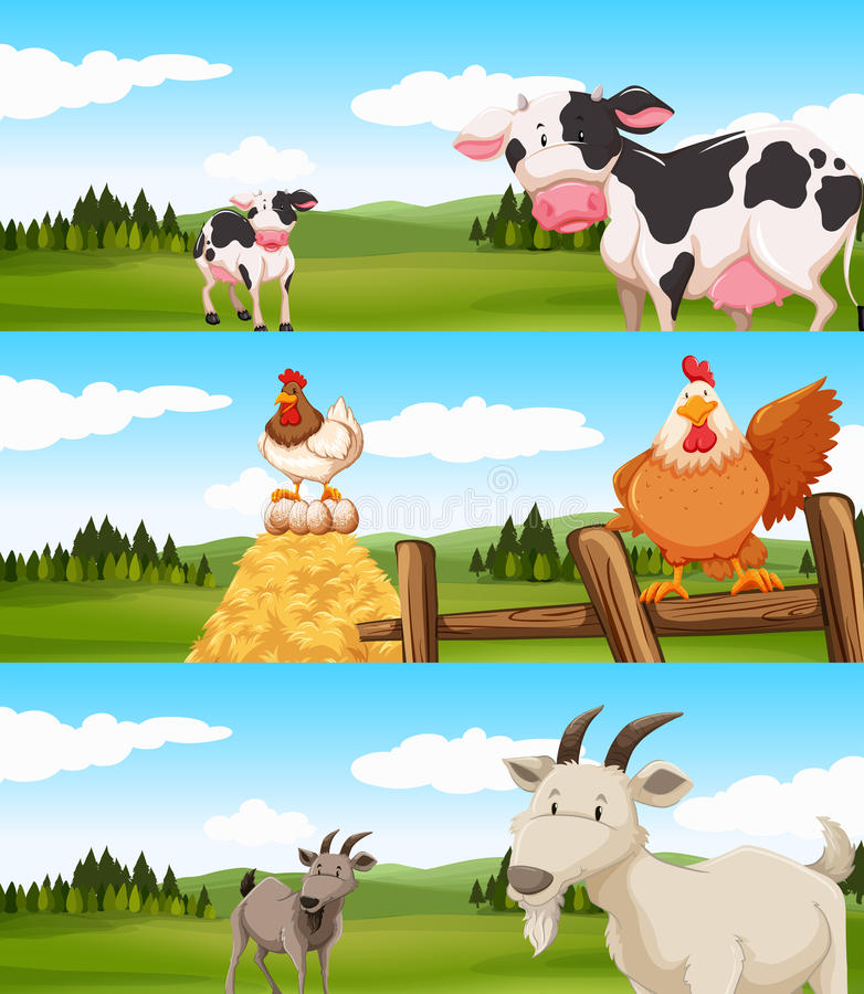 Animais de exploração agrícola que vivem na exploração agrícola ilustração royalty free