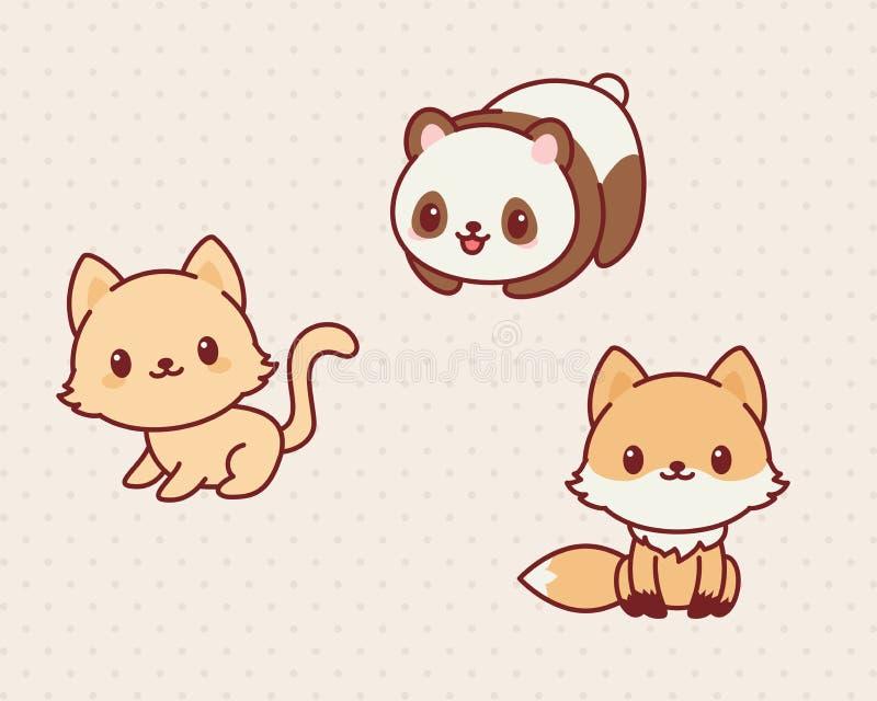 Animais de Kawaii ilustração stock