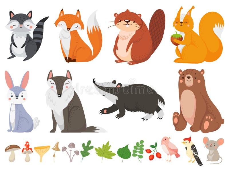 Animais de madeira engraçados Animal selvagem da floresta, raposa feliz da floresta e grupo bonito da ilustração dos desenhos  ilustração do vetor