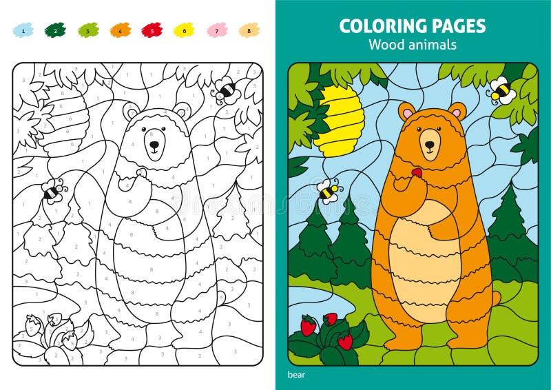 Animais de madeira que colorem a página para crianças, urso na floresta ilustração stock
