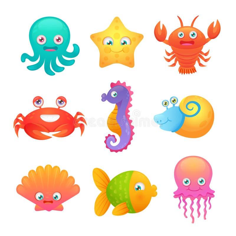 Animais de mar bonitos ilustração royalty free
