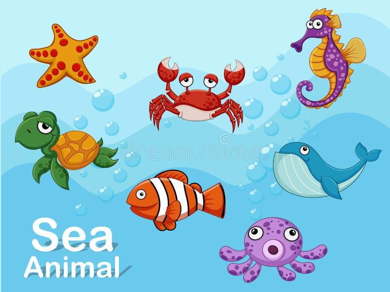 Animais de mar bonitos dos desenhos animados debaixo d'água Grupo da ilustração do vetor de criaturas do mar da coleção ilustração stock
