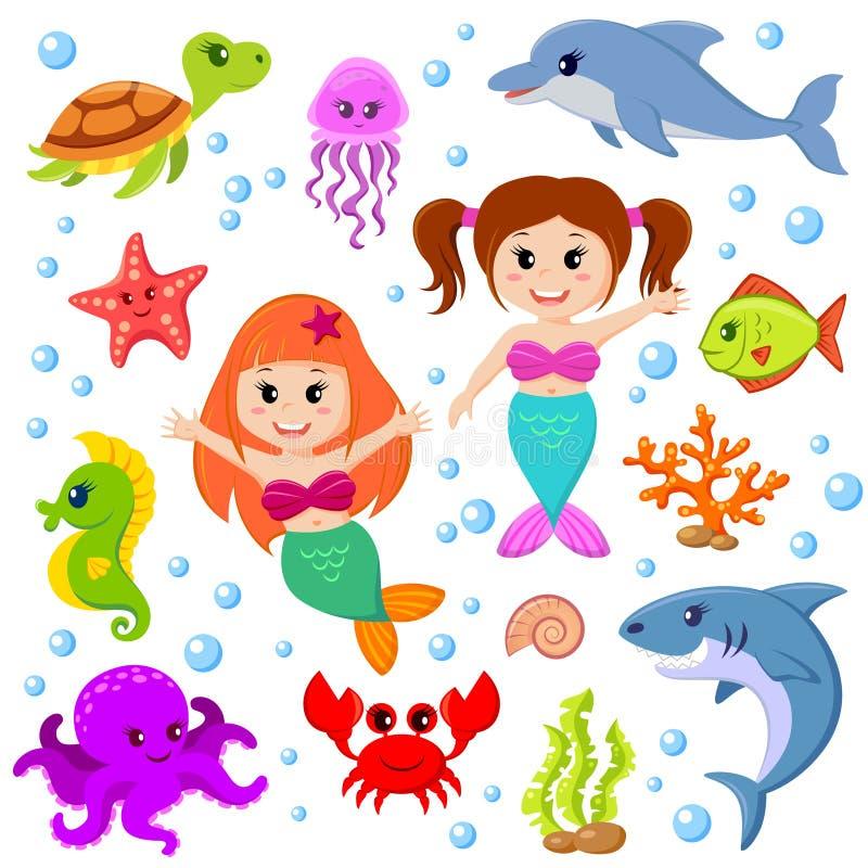 Animais de mar bonitos dos desenhos animados e sereias ilustração do vetor