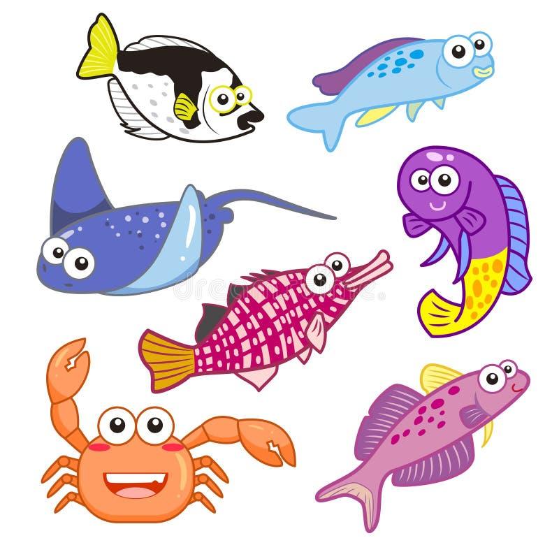 Animais de mar dos desenhos animados ajustados com fundo branco ilustração do vetor