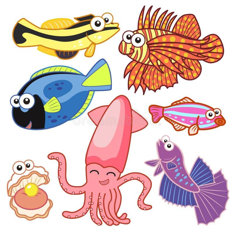 Animais de mar dos desenhos animados ajustados com fundo branco ilustração royalty free