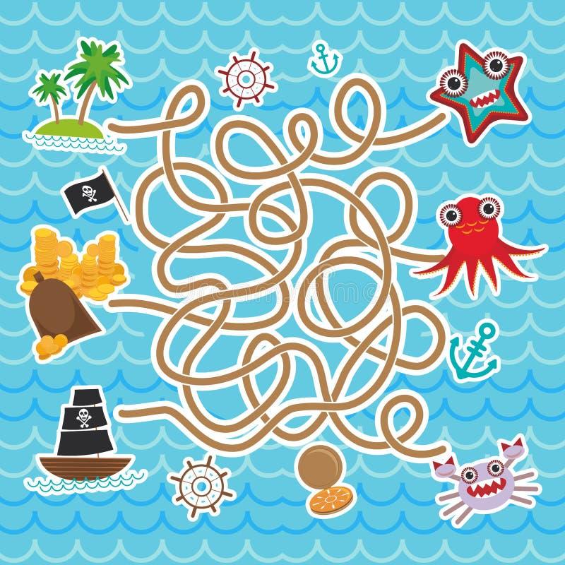 Animais de mar, piratas dos barcos o mar bonito objeta o jogo do labirinto da coleção para crianças prées-escolar Vetor ilustração stock