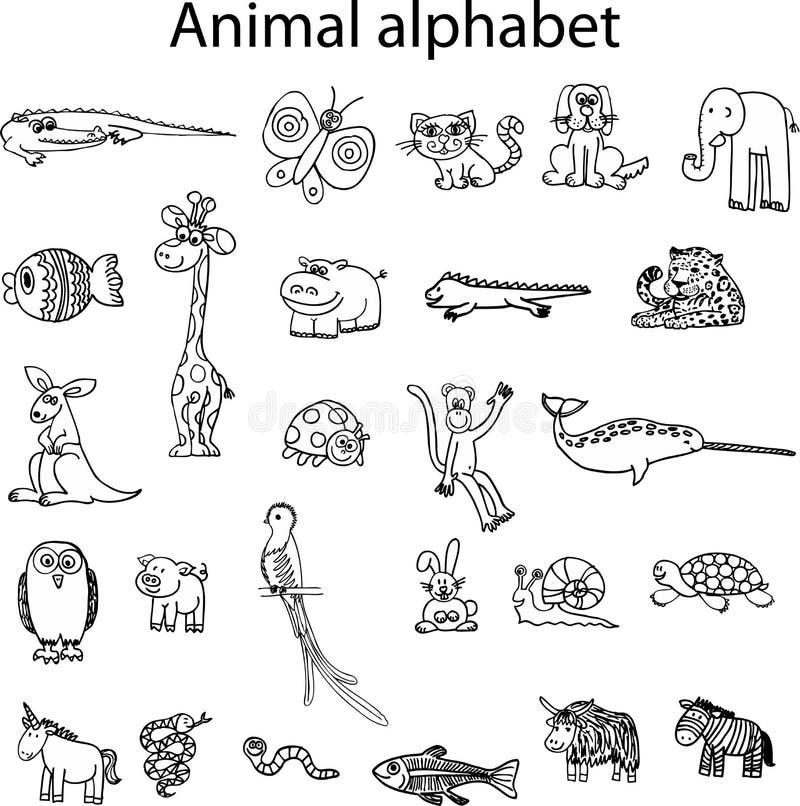 Animais do alfabeto animal ilustração stock