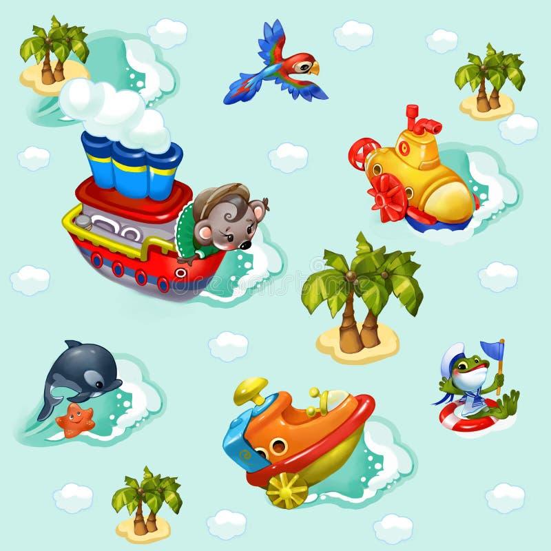 Animais do artoon do ¡ de Ð que viajam o mar azul ilustração do vetor