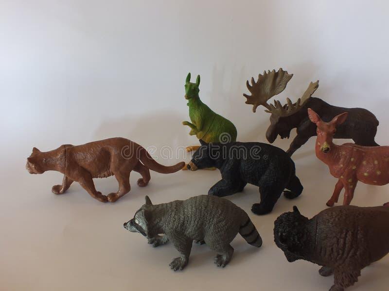 Animais do brinquedo das crianças em casa imagens de stock royalty free