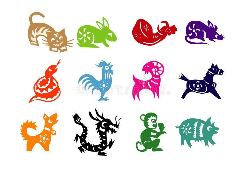 Animais do calendário chinês ilustração royalty free