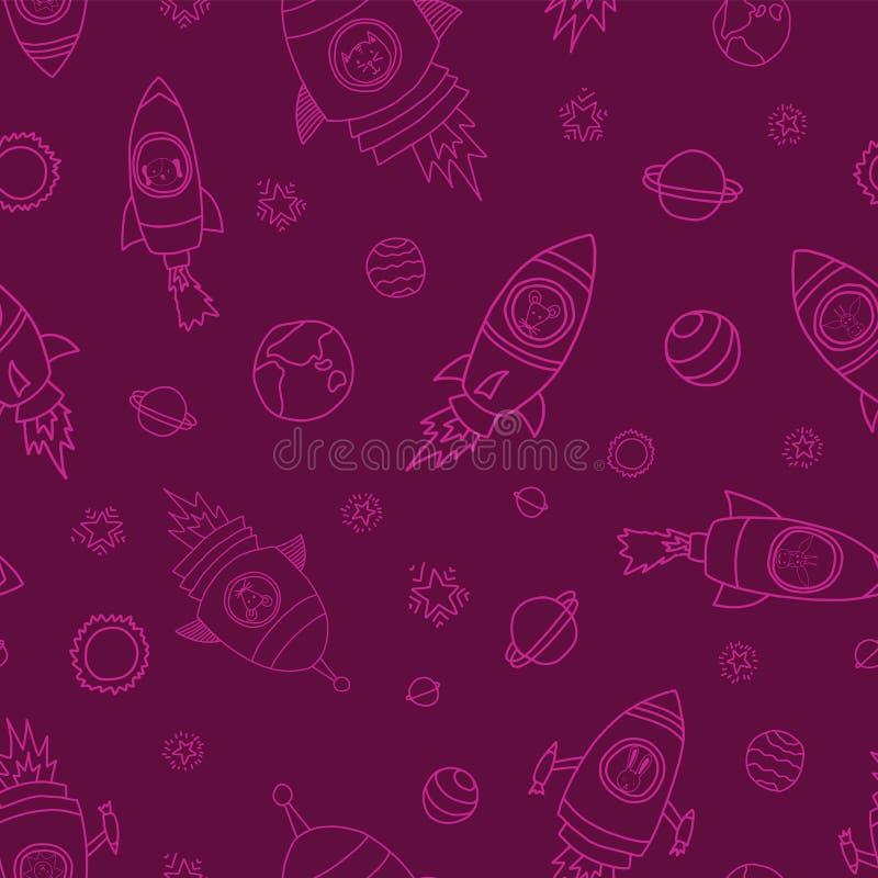 Animais do espaço no fundo sem emenda cor-de-rosa escuro do vetor Navios de Rocket Astronautas animais rato, gato, girafa, cão, e ilustração do vetor