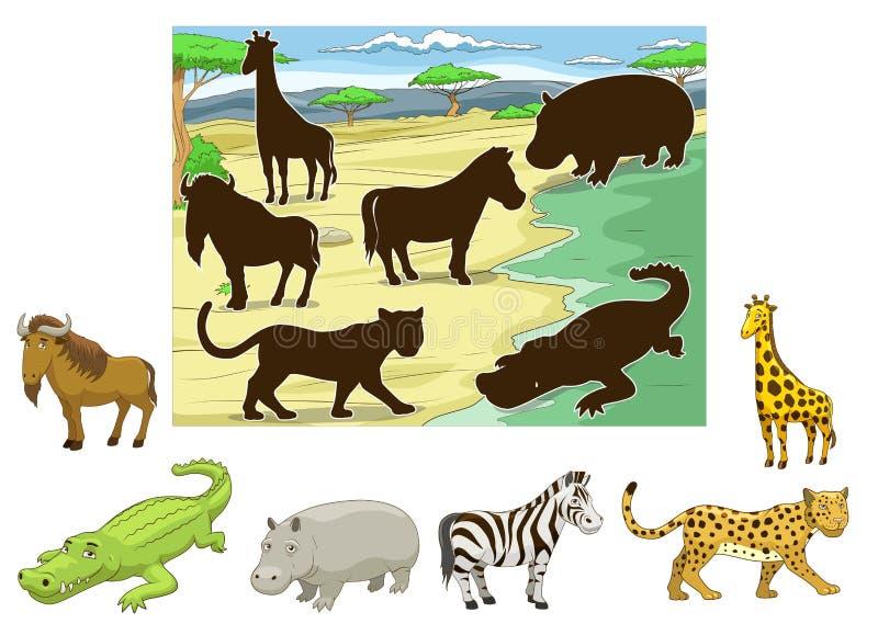 Animais do fósforo a seu jogo educacional das sombras ilustração stock