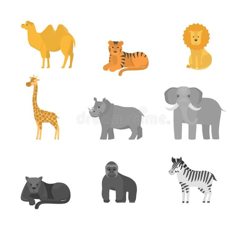 Animais do grupo de África Coleção dos animais selvagens ilustração royalty free