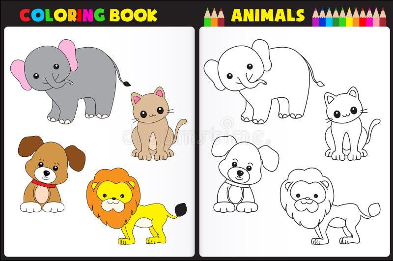 Animais do livro para colorir ilustração royalty free