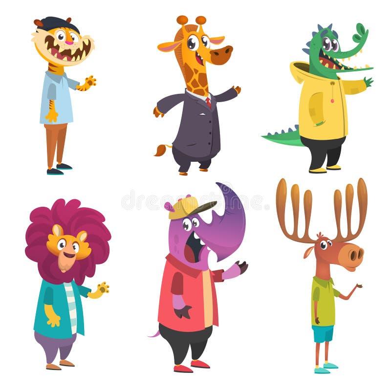 Animais do moderno dos desenhos animados ajustados ilustração do vetor do artoon Tigre, girafa, leão, crocodilo, alce, rinoceront ilustração stock