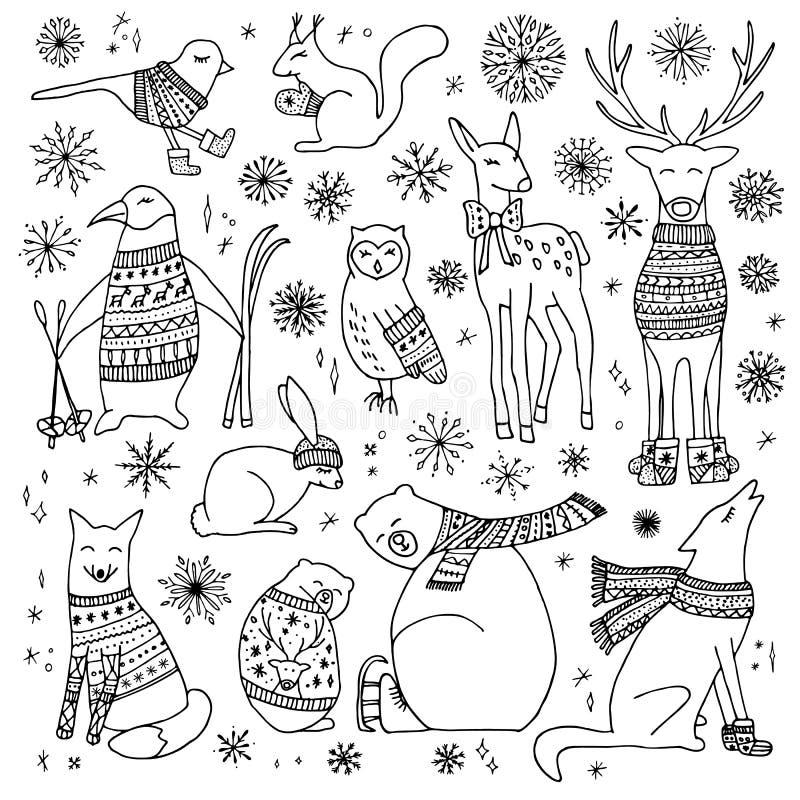 Animais do Natal ajustados ilustração do vetor