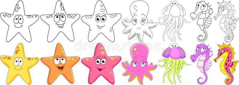 Animais do oceano dos desenhos animados ajustados ilustração royalty free