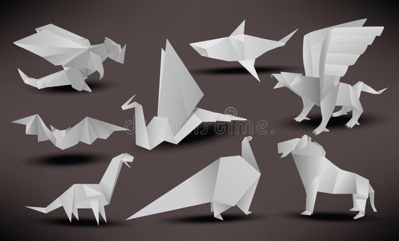 Animais do origâmi (preto & branco) ilustração stock