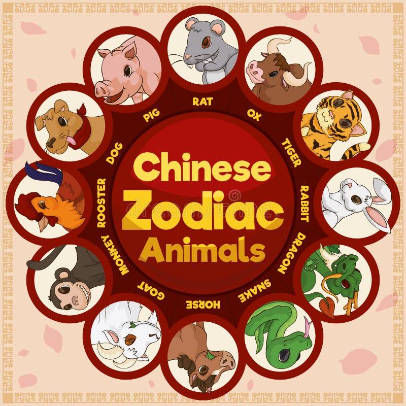 Animais do zodíaco do chinês tradicional em uma representação bonito, ilustração do vetor ilustração stock