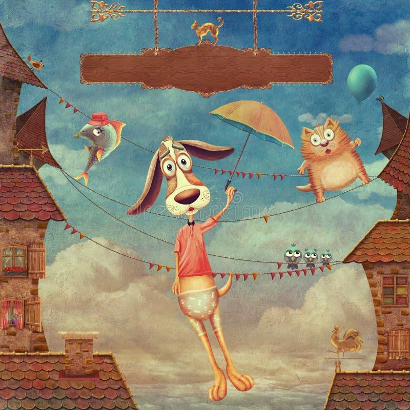 Animais doces: cão com guarda-chuva, peixes e gato no céu ilustração royalty free