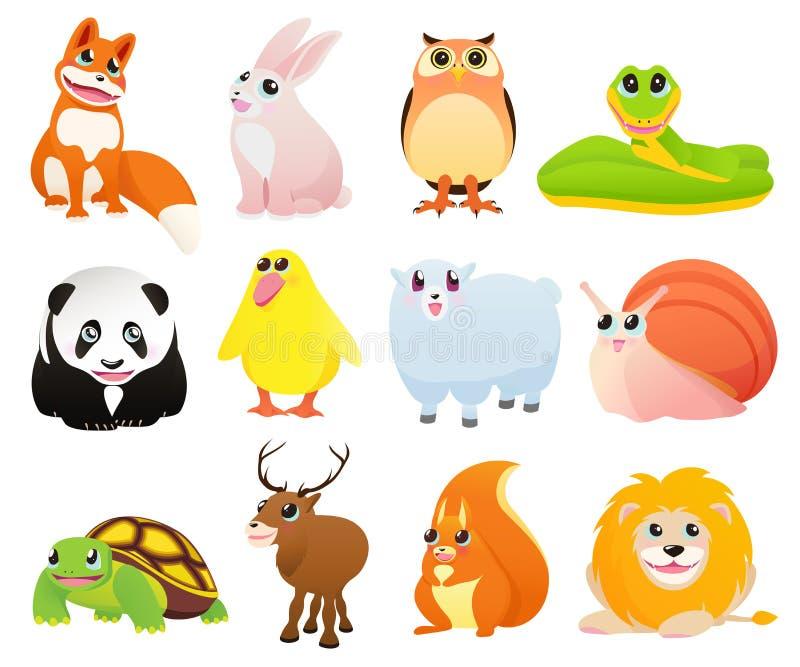 Animais dos desenhos animados ilustração do vetor