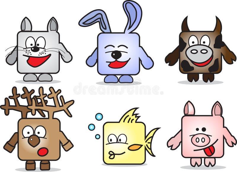 Animais dos desenhos animados ilustração royalty free