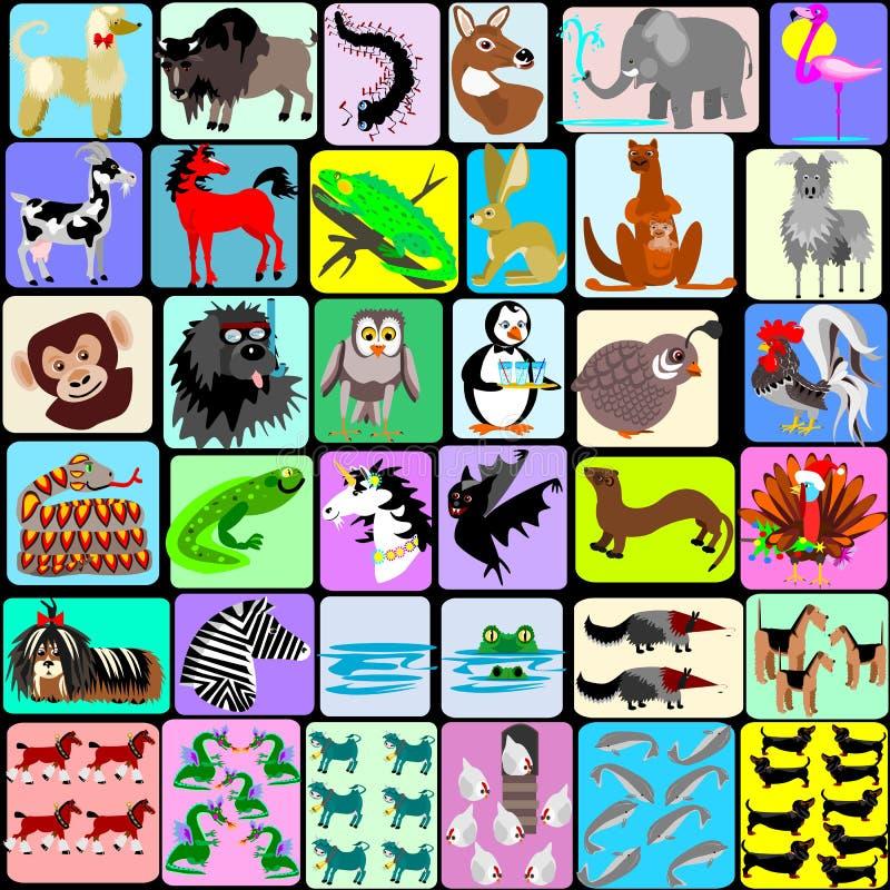 Animais dos desenhos animados do alfabeto ilustração do vetor