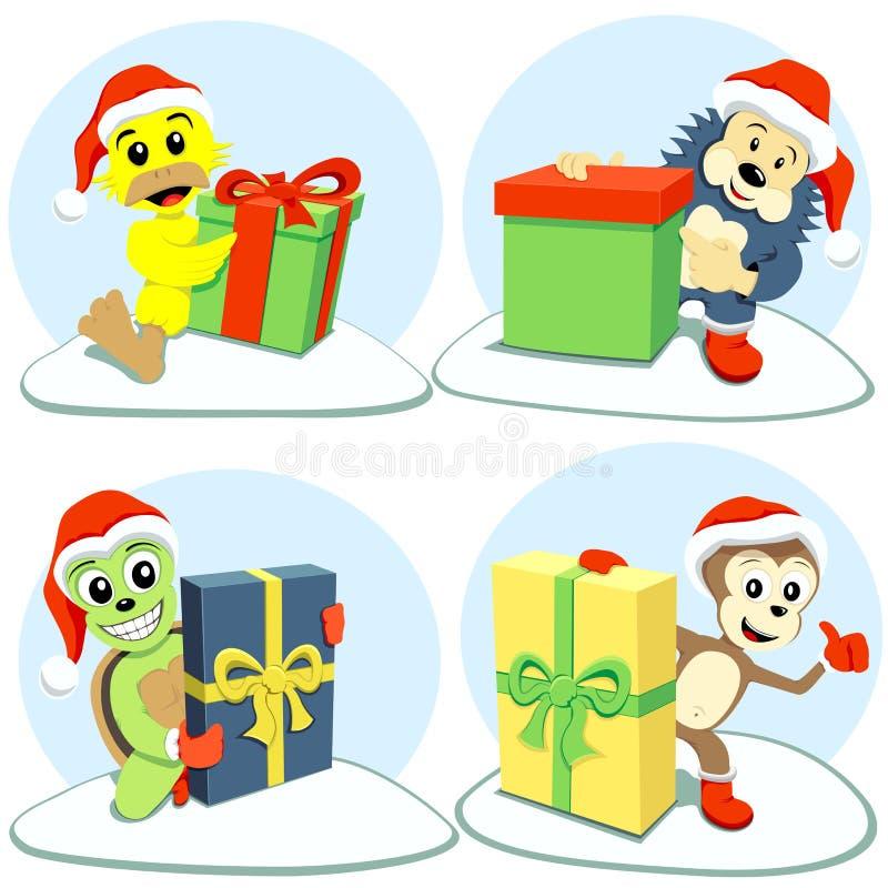 Animais dos desenhos animados do Feliz Natal ilustração stock