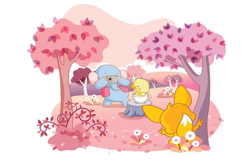 Animais dos desenhos animados na ação ilustração royalty free