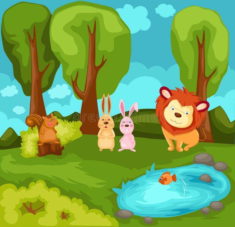 Animais dos desenhos animados na selva ilustração stock