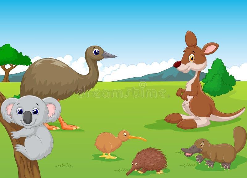 Animais dos desenhos animados no interior australiano ilustração do vetor