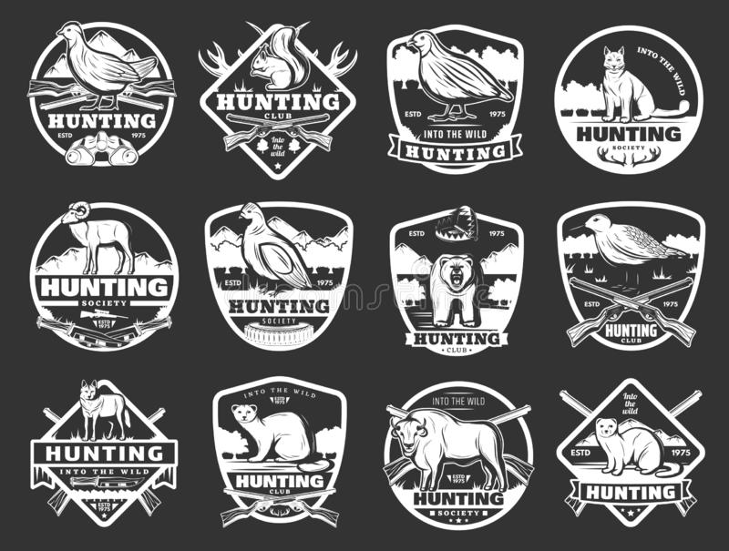 Animais e crachás selvagens do clube de caça da galinha ilustração royalty free