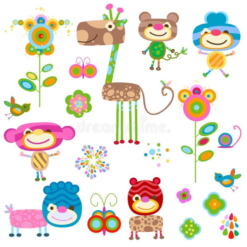 Animais e flores ilustração royalty free