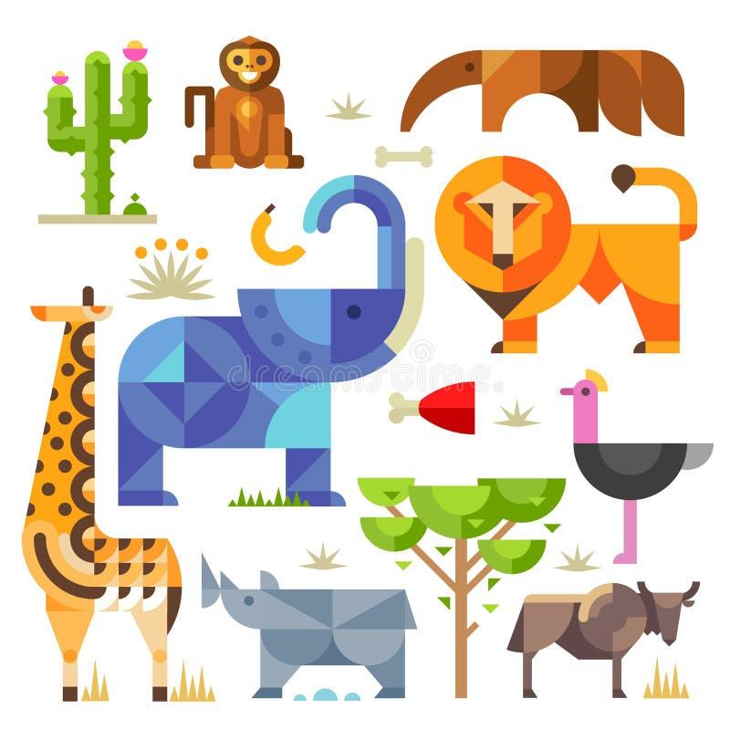 Animais e plantas de África ilustração royalty free