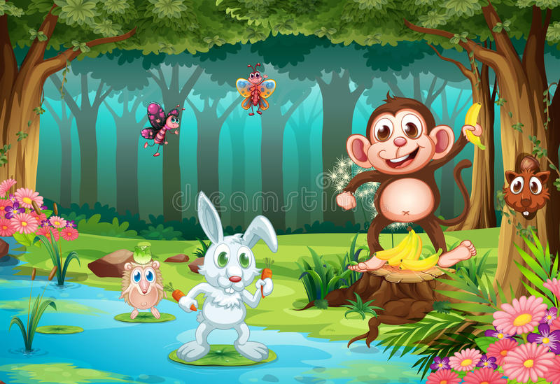 Animais e selva ilustração do vetor