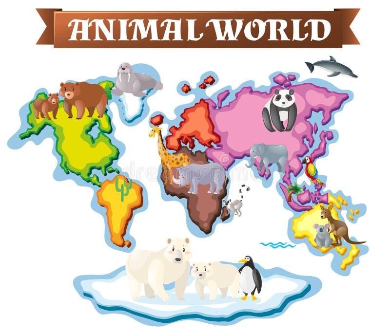 Animais em partes diferentes do mundo no mapa ilustração do vetor