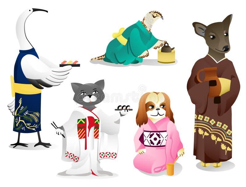 Animais em um quimono ilustração royalty free