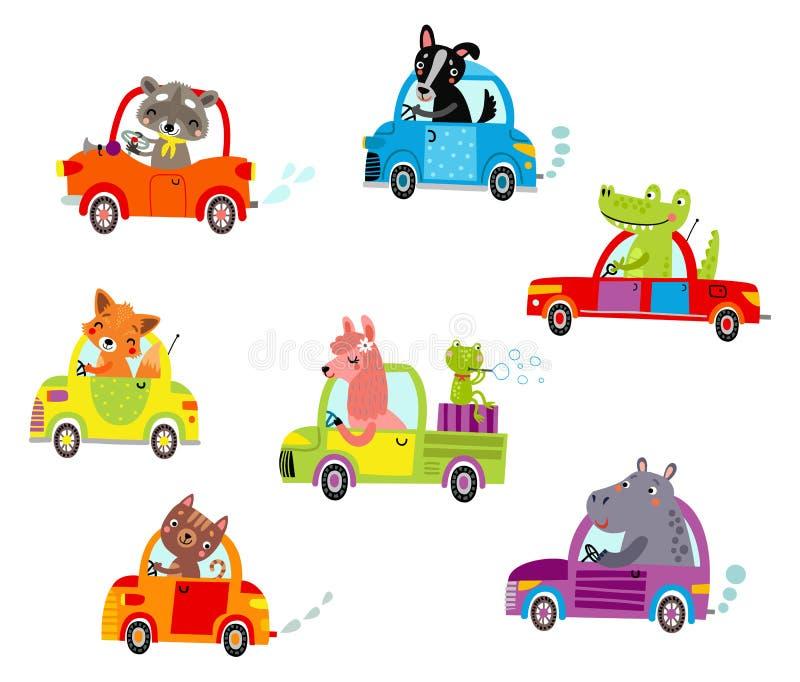 Animais em uma ilustração do vetor dos carros ilustração stock