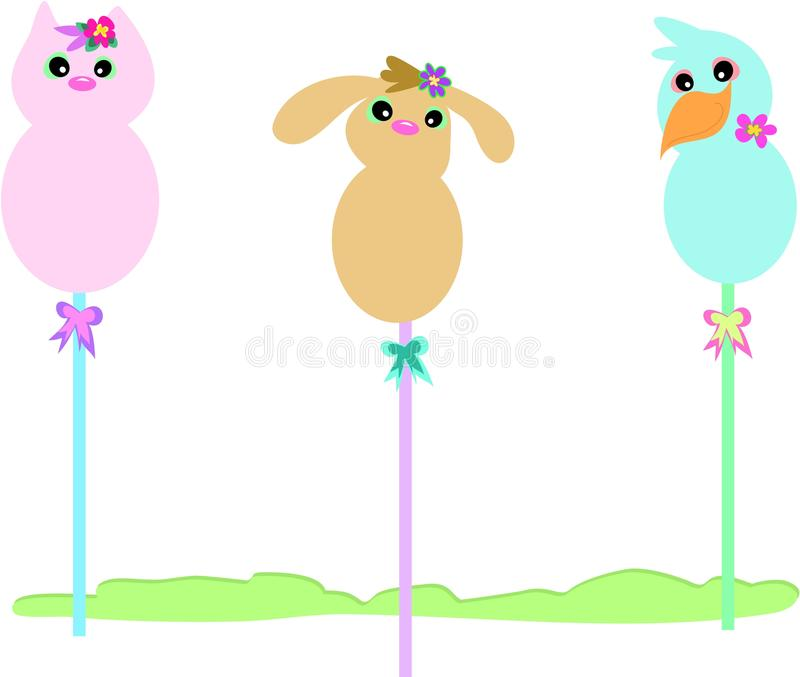 Animais em uma vara ilustração stock