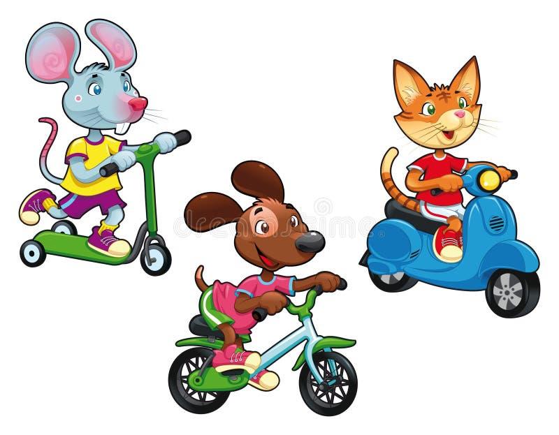 Animais em veículos. ilustração royalty free