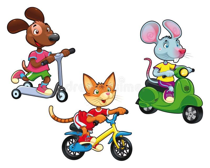 Animais em veículos. ilustração do vetor