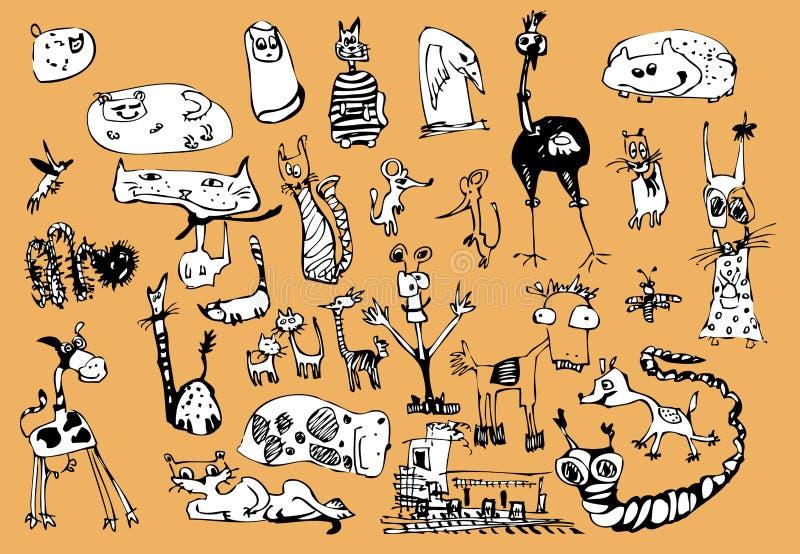 Animais engraçados ilustração do vetor