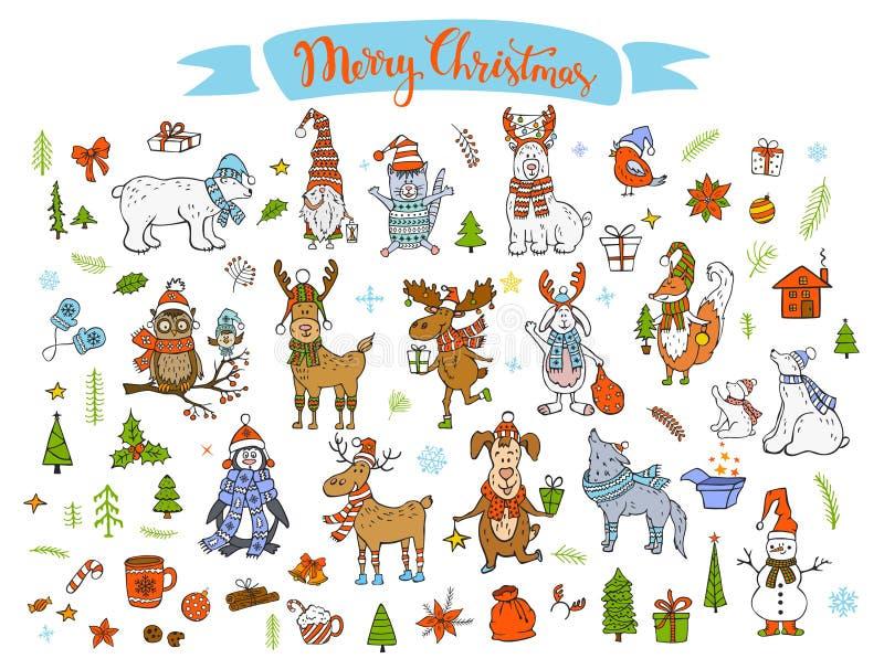 Animais engraçados bonitos dos desenhos animados do inverno do ano novo feliz do Feliz Natal ilustração royalty free